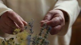 Ciérrese para arriba de un monje que machaca las hierbas secas