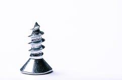 Ciérrese para arriba de un pequeño tornillo de metal en blanco Fotografía de archivo