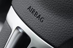Ciérrese para arriba de un saco hinchable del volante del coche Imagen de archivo libre de regalías