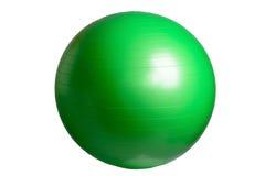 Ciérrese para arriba de una bola verde de la aptitud aislada en el fondo blanco Imagen de archivo libre de regalías