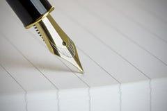 Ciérrese para arriba de una fuente Pen Nib del oro Foto de archivo libre de regalías
