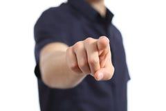 Ciérrese para arriba de una mano del hombre que señala en la cámara Foto de archivo libre de regalías