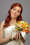 Ciérrese para arriba de una novia joven agradable de la boda Fotos de archivo libres de regalías