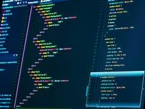 Ciérrese para arriba de una pantalla de ordenador con código del HTML y del CSS fotos de archivo libres de regalías
