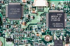 Ciérrese para arriba de una placa de circuito impresa Fotos de archivo