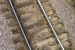 Ciérrese para arriba de vías viejas del tren Fotos de archivo libres de regalías
