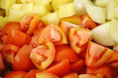 Ciérrese para arriba de verduras tajadas Foto de archivo libre de regalías