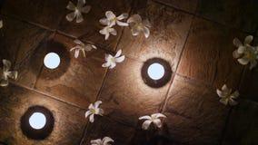 Ciérrese para arriba, decoración hermosa de la noche en el piso, dispuesta las velas y las flores presentadas, las magnolias blan almacen de metraje de vídeo