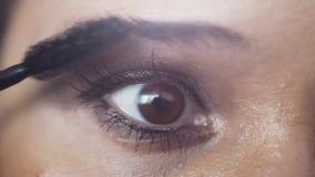 Ciérrese para arriba del artista de maquillaje de sexo femenino del ojo que aplica maquillaje de la pestaña al ojo del modelo 384 almacen de video