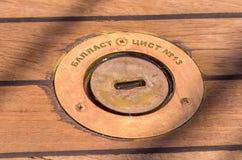 Ciérrese para arriba del barco de madera de la cubierta Foto de archivo