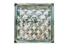 Ciérrese para arriba del bloque de cristal aislado, con la trayectoria de recortes Fotos de archivo libres de regalías