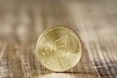 Ciérrese para arriba del centavo euro cincuenta Imágenes de archivo libres de regalías
