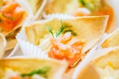 Ciérrese para arriba del cucurucho de la pasta con el relleno de color salmón de los pescados Fotos de archivo