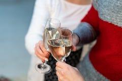 Ciérrese para arriba del grupo de amigos que tuestan con fluters del champán foto de archivo libre de regalías