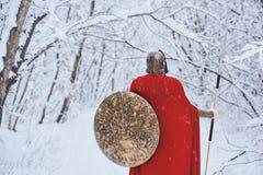 Ciérrese para arriba del hombre espartano que se coloca en bosque del invierno Imagen de archivo