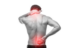 Ciérrese para arriba del hombre que frota su parte posterior dolorosa Alivio del dolor, concepto de la quiropráctica imágenes de archivo libres de regalías