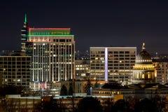 Ciérrese para arriba del horizonte de Boise Idaho con la estructura de la Capital del Estado Fotografía de archivo