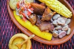 Ciérrese para arriba del hornado delicioso, comida andina típica tradicional del ecuadorian servida con el maíz, patata, ensalada fotografía de archivo