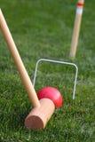 Ciérrese para arriba del juego del croquet Foto de archivo libre de regalías