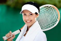 Ciérrese para arriba del jugador de tenis Fotos de archivo