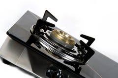 Ciérrese para arriba del mechero de gas imagenes de archivo