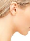 Ciérrese para arriba del oído de la mujer imágenes de archivo libres de regalías