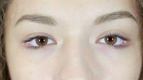 Ciérrese para arriba del ojo del centelleo que mira la cámara, fondo blanco, joven, metrajes
