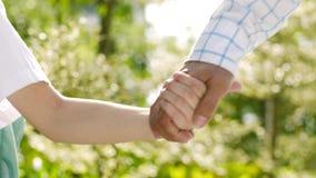 Ciérrese para arriba del padre y del hijo asiáticos que llevan a cabo la mano y que caminan en jardín por mañana almacen de video