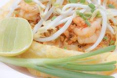 Ciérrese para arriba del padthai cubierto por la tortilla Imagen de archivo