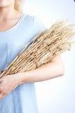 Ciérrese para arriba del paquete de la tenencia de la mujer de trigo imagenes de archivo