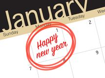 Ciérrese para arriba del primer día del año 2018 en calendario del diario Fotos de archivo