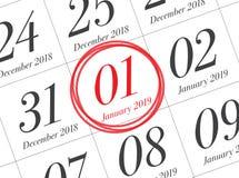Ciérrese para arriba del primer día del año 2019 en calendario del diario fotografía de archivo