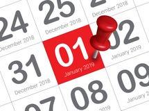 Ciérrese para arriba del primer día del año 2019 en calendario del diario imagen de archivo libre de regalías