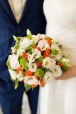 Ciérrese para arriba del ramo en colores pastel de la boda - fondo Fotos de archivo libres de regalías