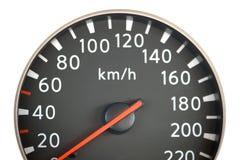 Ciérrese para arriba del velocímetro del coche Fotografía de archivo