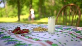 Ciérrese para arriba del vidrio del desayuno del pueblo de leche, de fresa y de galletas en la tabla Mujer y naturaleza en blured almacen de metraje de vídeo