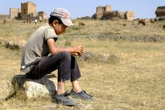 Ciérrese para arriba en niño del pastor fotos de archivo libres de regalías