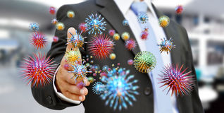 Ciérrese para arriba en una representación del virus 3D de la mano enferma del hombre que transmite Fotografía de archivo libre de regalías