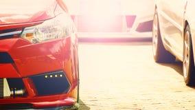 Ciérrese para arriba, frente del coche de deportes Fotos de archivo