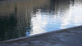 Ciérrese para arriba para la acera gris cerca de un río con una fuente existencias Sendero asfaltado cerca del agua oscura del rí almacen de video