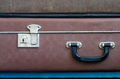 Ciérrese y dirija en la maleta vieja Cierre para arriba Imágenes de archivo libres de regalías