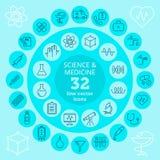 Ciência & ícones médicos Imagens de Stock Royalty Free