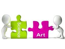 Ciência Art Puzzle Shows Scientific Or artístico Imagem de Stock