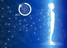 A ciência do fundo e o conceito abstratos da tecnologia na luz azul, corpo humano curam ilustração royalty free