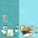 Ciência e educação: a administração da escola, bandeiras do vetor Imagens de Stock