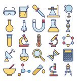 A ciência e a tecnologia isolaram os ícones do vetor ajustados para consistir com laboratório médico, química, plano, ADN ilustração stock