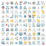 A ciência e a tecnologia isolaram os ícones do vetor ajustados para consistir com laboratório médico, química, plano, móbil, e AD ilustração stock