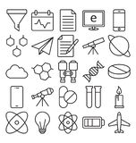 A ciência e a tecnologia isolaram os ícones do vetor ajustados para consistir com laboratório médico, química, plano, móbil, e AD ilustração do vetor