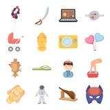 Ciência, educação, medicina e o outro ícone da Web no estilo dos desenhos animados Saúde, recreação, ícones da tradição na coleçã Foto de Stock