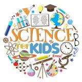 Ciência para miúdos Símbolos e projeto da escola imagens de stock royalty free